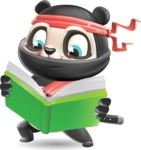 Ninja Panda Vector Cartoon Character - Reading a book