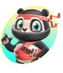 Ninja Panda Vector Cartoon Character - Shape 1