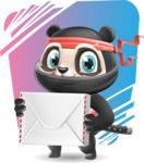 Ninja Panda Vector Cartoon Character - Shape 11