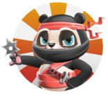 Ninja Panda Vector Cartoon Character - Shape 2