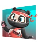 Ninja Panda Vector Cartoon Character - Shape 3