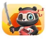 Ninja Panda Vector Cartoon Character - Shape 4