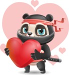 Ninja Panda Vector Cartoon Character - Shape 7