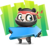 Ninja Panda Vector Cartoon Character - Shape 8