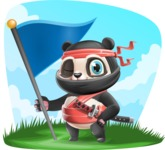 Ninja Panda Vector Cartoon Character - Shape 9