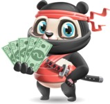 Ninja Panda Vector Cartoon Character - Show me the Money