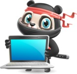 Ninja Panda Vector Cartoon Character - Showing a laptop