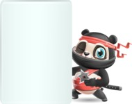 Ninja Panda Vector Cartoon Character - Showing Big Blank banner