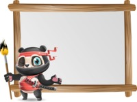 Ninja Panda Vector Cartoon Character - Showing on Big whiteboard