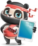 Ninja Panda Vector Cartoon Character - Showing tablet