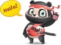 Ninja Panda Vector Cartoon Character - Waving for Hello with a hand
