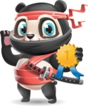 Ninja Panda Vector Cartoon Character - Winning prize