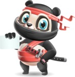 Ninja Panda Vector Cartoon Character - with a Blank Business card
