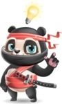 Ninja Panda Vector Cartoon Character - with a Light bulb