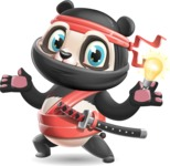 Ninja Panda Vector Cartoon Character - with an Idea