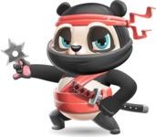 Ninja Panda Vector Cartoon Character - with Angry face