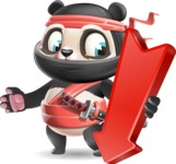 Ninja Panda Vector Cartoon Character - with Arrow going Down
