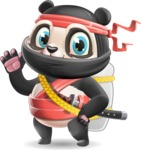 Ninja Panda Vector Cartoon Character - with Backpack