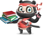 Ninja Panda Vector Cartoon Character - with Books