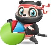 Ninja Panda Vector Cartoon Character - with Business graph