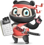 Ninja Panda Vector Cartoon Character - with Calculator