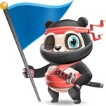 Ninja Panda Vector Cartoon Character - with Flag