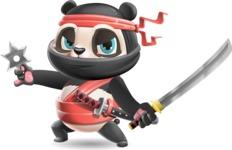 Ninja Panda Vector Cartoon Character - with Katana and Ninja star