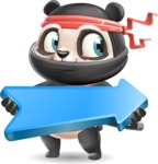 Ninja Panda Vector Cartoon Character - with Positive arrow