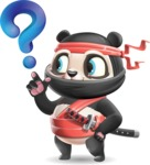 Ninja Panda Vector Cartoon Character - with Question mark