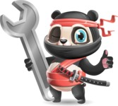 Ninja Panda Vector Cartoon Character - with Repairing tool wrench
