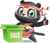 Ninja Panda Vector Cartoon Character - with Sale boxes