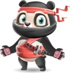 Ninja Panda Vector Cartoon Character - with Stunned face
