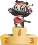 Ninja Panda Vector Cartoon Character - with Success on Top