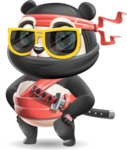 Ninja Panda Vector Cartoon Character - with Sunglasses