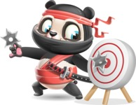 Ninja Panda Vector Cartoon Character - with Target