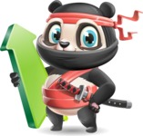 Ninja Panda Vector Cartoon Character - with Up arrow