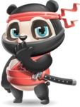 Ninja Panda Vector Cartoon Character - Yawning