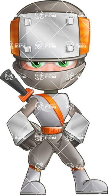 Japanese Ninja Cartoon Vector Character AKA Takeshi - Normal