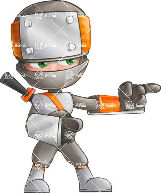 Japanese Ninja Cartoon Vector Character AKA Takeshi - Point 2