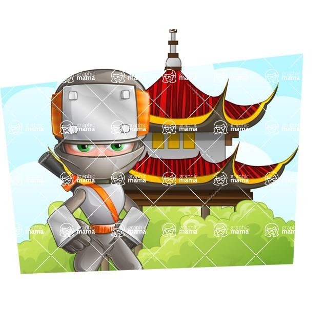 Japanese Ninja Cartoon Vector Character AKA Takeshi - Shape 3