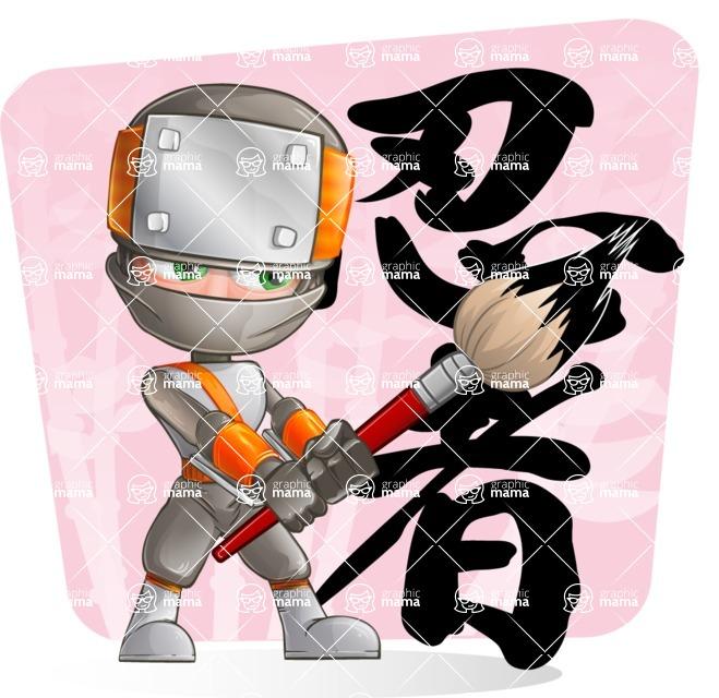 Japanese Ninja Cartoon Vector Character AKA Takeshi - Shape 5