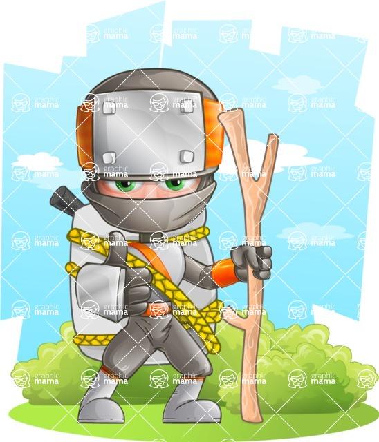 Japanese Ninja Cartoon Vector Character AKA Takeshi - Shape 7