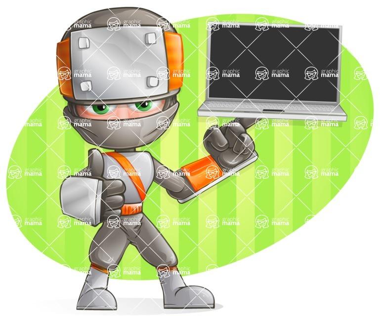 Japanese Ninja Cartoon Vector Character AKA Takeshi - Shape 8