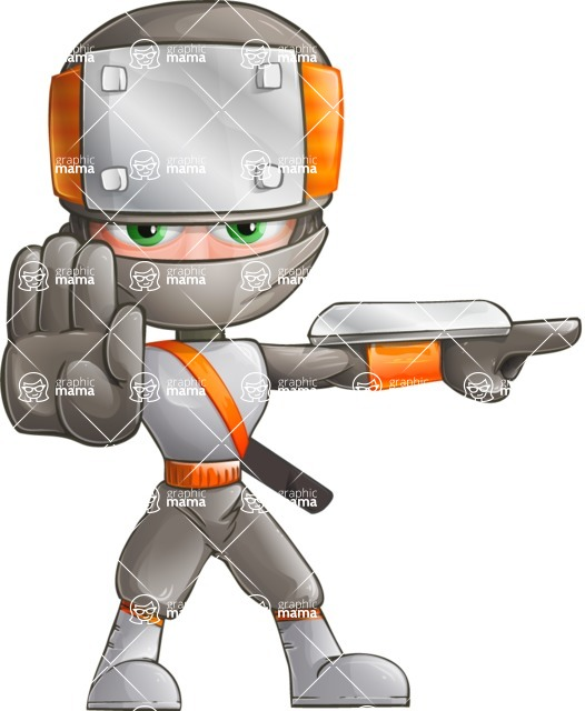 Japanese Ninja Cartoon Vector Character AKA Takeshi - Direct Attention 2