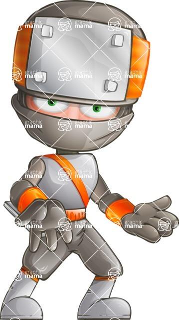 Japanese Ninja Cartoon Vector Character AKA Takeshi - Confused