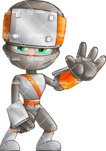 Japanese Ninja Cartoon Vector Character AKA Takeshi - Goodbye