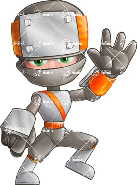Japanese Ninja Cartoon Vector Character AKA Takeshi - Hello
