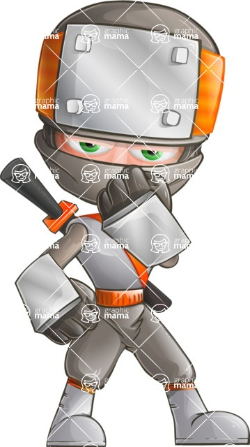Japanese Ninja Cartoon Vector Character AKA Takeshi - Bored 2