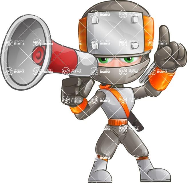 Japanese Ninja Cartoon Vector Character AKA Takeshi - Loudspeaker