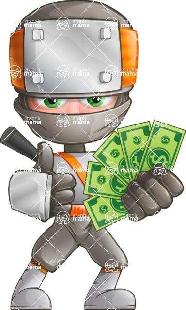 Japanese Ninja Cartoon Vector Character AKA Takeshi - Show me the Money